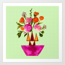 Watercolor Flowers with Geometric Accents Home Goods Design Art Print