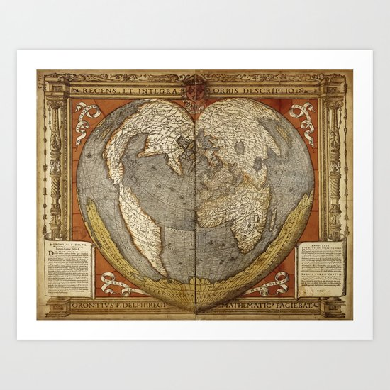 Heart-shaped projection map by Oronce Fine, 16th century Art Print