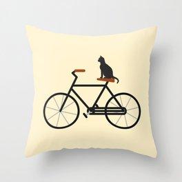 Cat Riding Bike Throw Pillow