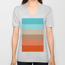 Modern orange aqua sand color block stripes Unisex V-Neck