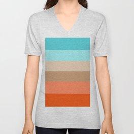 Modern orange aqua sand color block stripes Unisex V-Neck