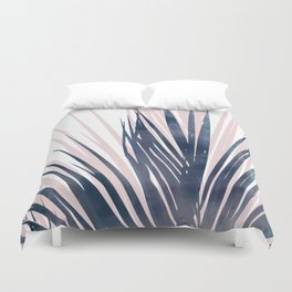 Contemporary Palm Leaf in Navy Blue and Blush Pink Duvet Cover