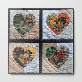 Homespun Vintage Quilt Blocks Colorful Hearts Metal Print