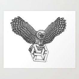 Escher Owl Art Print