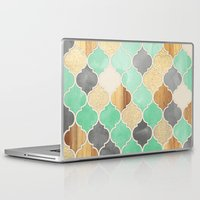 bedding Laptop & iPad Skins featuring Charcoal, Mint, Wood & Gold Moroccan Pattern by micklyn