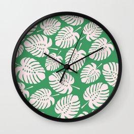 Monstera, Leaves, Plant, Tropical, Green, Minimal, Pattern, Modern art Wall Clock