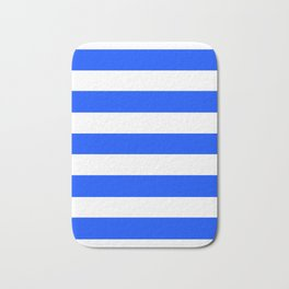 Blue (RYB) - solid color - white stripes pattern Bath Mat