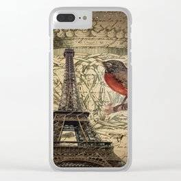 I love Paris Shabby chic Robin French Scripts Jubilee Crown Vintage Paris Eiffel Tower Clear iPhone Case