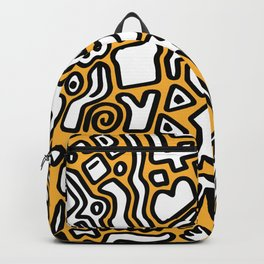 black doodle on orange Backpack