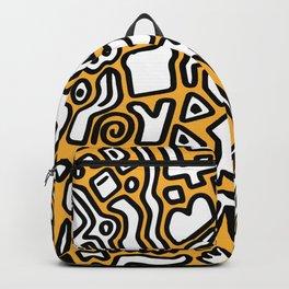 black doodle on orange Backpack