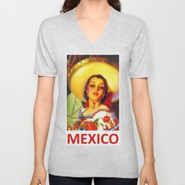 Vintage Mexico Travel Poster Unisex V-Neck