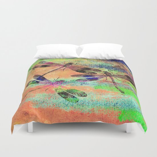 Mauritius Vintage Dragonflies Colours C Duvet Cover