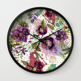 Abstract plants and flowers Wall Clock