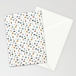 green geometric terrazzo Stationery Cards