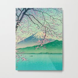 Kawase Hasui Title- Mt. Fuji from Kishio Vintage Japanese Woodblock Print East Asian Cultural Art Metal Print