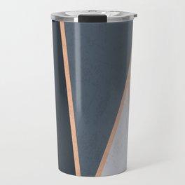 Modern Contemporary Rose Gold Textured Cool Tone Geometric Pattern Travel Mug
