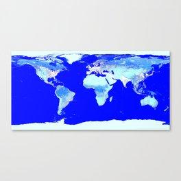 world MAP Blue Turquoise Aqua Canvas Print