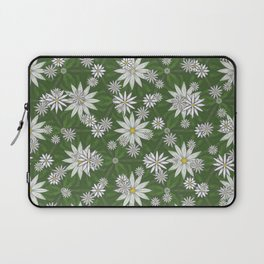 White Flowers on Green Background Pattern Laptop Sleeve