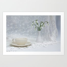 Snowdrops at Teatime Art Print
