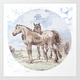 Companions - horse love Art Print