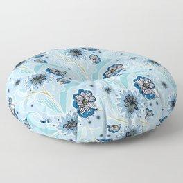 Floral one direction - arte & craft blue Floor Pillow