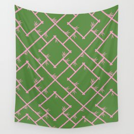 Bamboo Chinoiserie Lattice in Green + Pink Wall Tapestry
