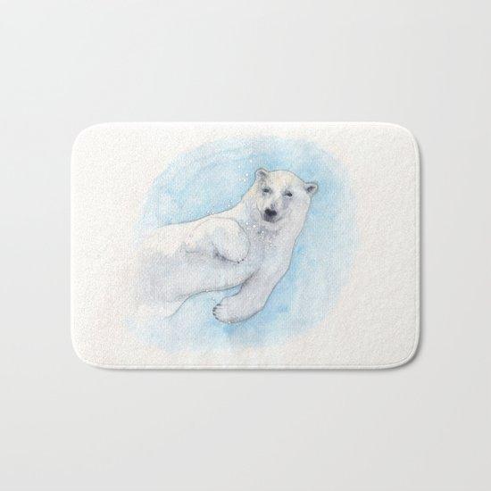 Polar bear underwater Bath Mat