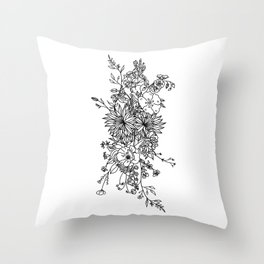LINE ART FLORAL BOUQUET Throw Pillow