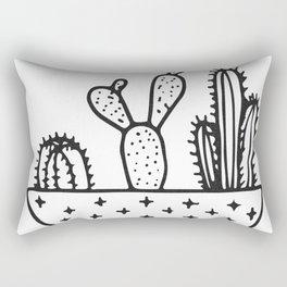 Cactus House Garden Black and White Rectangular Pillow