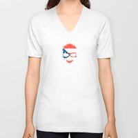 puerto rico V-neck T-shirts featuring Flag of Puerto Rico on a Chaotic Splatter Skull by Jeff Bartels