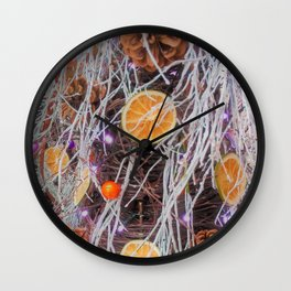 christmas tree with orange Wall Clock