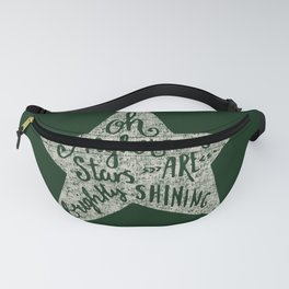 Oh holy night - Merry christmas - Illustration Star with Typography on festive green Fanny Pack