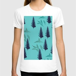 Trees & Leaves On Blue Background T-shirt