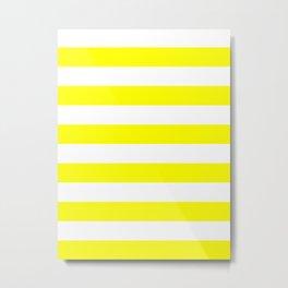 Horizontal Stripes - White and Yellow Metal Print