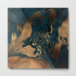 Emerald Indigo And Copper Glamour Marble Metal Print