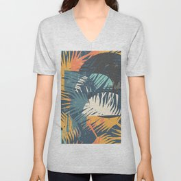 ABSTRACT TROPICAL SUNSET with palm leaves Unisex V-Neck