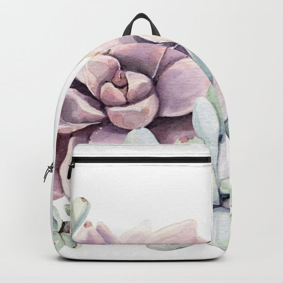 Desert Succulents on White Backpack