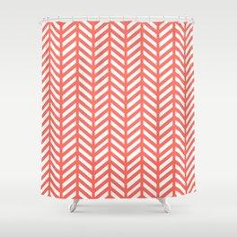 Herringbone - Living Coral Shower Curtain