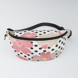 Pink beige flowers on a background of black peas. Fanny Pack