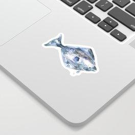 Flat Fish Watercolor Sticker