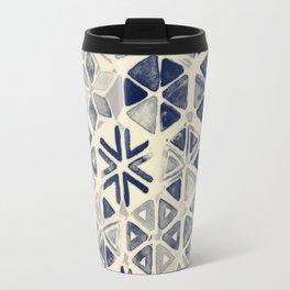 Hand Painted Triangle & Honeycomb Ink Pattern - indigo & cream Travel Mug