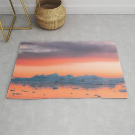 Surreal Iceberg during a bright orange Sunset Sky – Arctic Nature Photography Rug