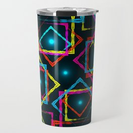 Bright rhombuses and squares with blue highlights in the intersection on a dark background. Travel Mug