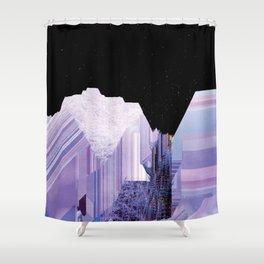 Glitch Valley at Night Shower Curtain