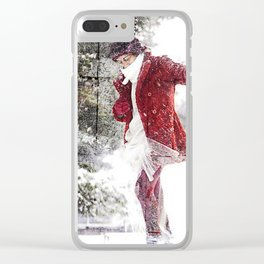 Red in Snow Clear iPhone Case