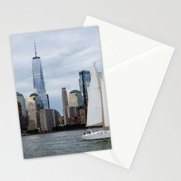 Sailing boat against skyline of New York Stationery Cards