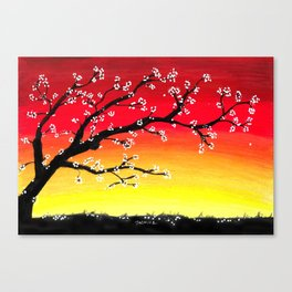Drawing Sunset and a Blossom Tree Canvas Print