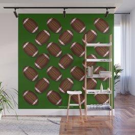 Footballs Design on Green Wall Mural