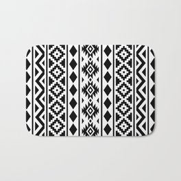Aztec Essence Ptn III Black on White Bath Mat