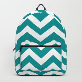 Viridian green - green color - Zigzag Chevron Pattern Backpack
